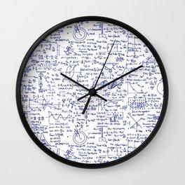 Physics Equations in Blue Pen Wall Clock
