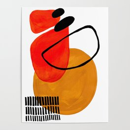 Mid Century Modern Abstract Vintage Pop Art Space Age Pattern Orange Yellow Black Orbit Accent Poster