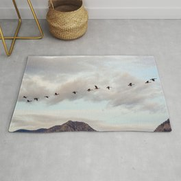 Migration of the Birds // Mountain and Sky Meets Nature Landscape Photography of Wildlife Rug