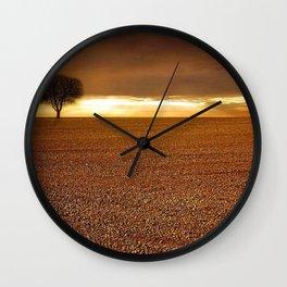 Ancient Oak Amid Ploughed Crop Field Italian sunset Wall Clock