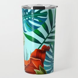 Tropical Leaves and Flowers on Teal Background Travel Mug