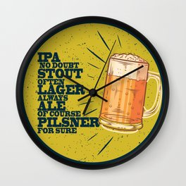 Beer always, vintage poster, circle, yellow Wall Clock