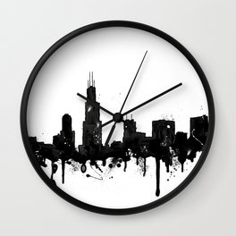 Watercolor Chicago Skyline Wall Clock
