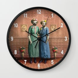 The Sloth Sisters at Home Wall Clock