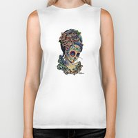 fitzgerald Biker Tanks featuring Marie de los Muertos by Cathy FitzGerald