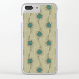 Teal Turquoise Circles Pattern Modern Abstract Clear iPhone Case