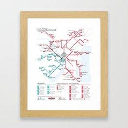 DC Commuter Bus Network Map Framed Art Print