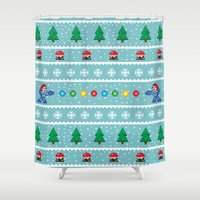 megaman Shower Curtains featuring Christmas Pixel Megaman pattern by KickPunch