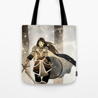 warrior Tote Bags featuring Warrior by Pauliina Hannuniemi