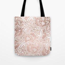 Chic hand drawn rose gold floral mandala pattern Tote Bag