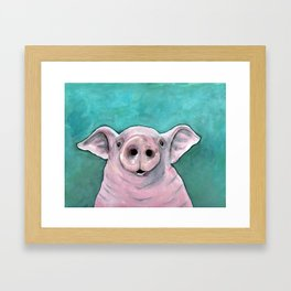 Happy pig painting, smiling pig watercolor, colorful piglet art, laughing piggy, kid's wall art, kit Framed Art Print