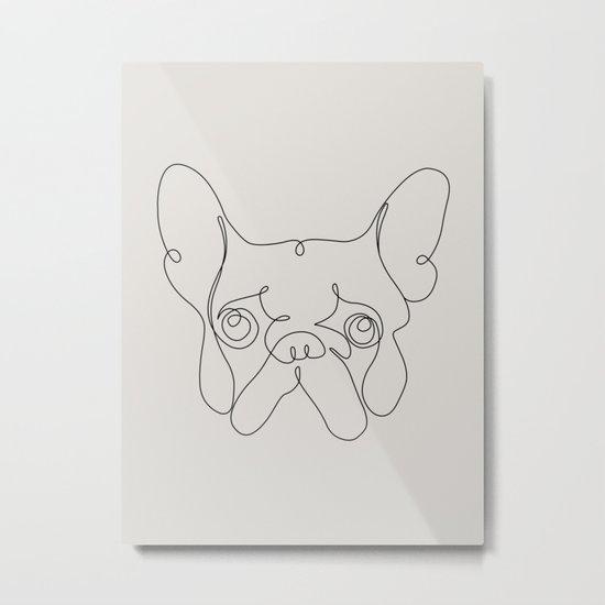 One Line French bulldog Metal Print