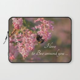 Nature bee on pink flowers Laptop Sleeve
