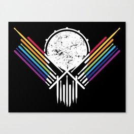 Artsy Drummer Skull Canvas Print