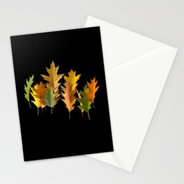 Variety coloured autumn oak leaves Stationery Cards