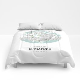 Singapore City Map with GPS Coordinates Comforters