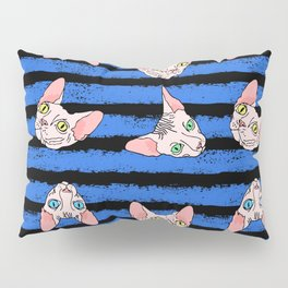 sphynx cats on blue and black Pillow Sham