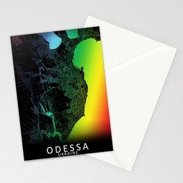 Odessa, Ukraine, City, Map, Rainbow, Map, Art, Print Stationery Cards