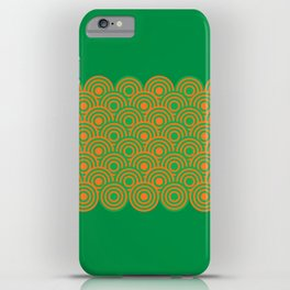 op art pattern retro circles in green and orange iPhone Case