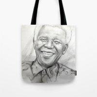 mandela Tote Bags featuring Mandela by Tamara Patrick