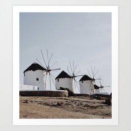 Windmills of Kato Milli - Mykonos Art Print