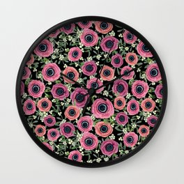 Anemone Floral 2018 by Magenta Rose Designs Wall Clock