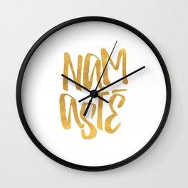 Golden Namaste Wall Clock