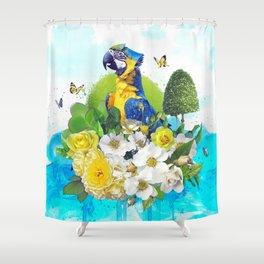 FLORAL PARROT Shower Curtain