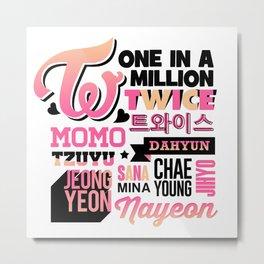 TWICE Font Collage Metal Print