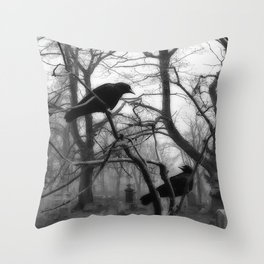 Graveyard Birds Throw Pillow