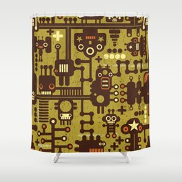 Funny Little Robots Pattern Shower Curtain