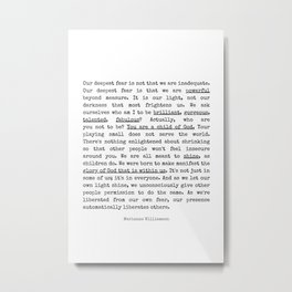 Our Deepest Fear Poem #minimalist #quotes Metal Print