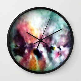 WATERCOLOUR PRINT IN BLUES AND LILACES Wall Clock