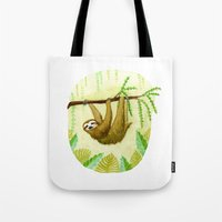 sloth Tote Bags featuring Sloth by Kirsten Sevig