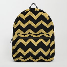 Chevron Black And Gold Backpack