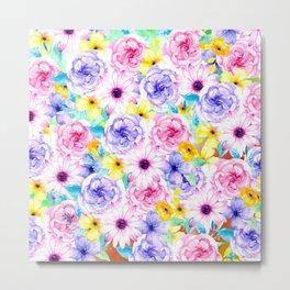 Pink lavender hand painted watercolor flowers Metal Print