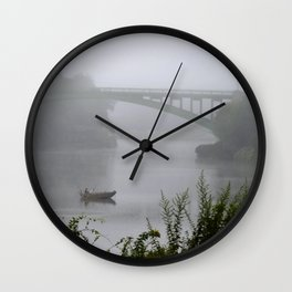 Foggy Fishing Day on the Delaware River Wall Clock