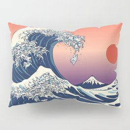 The Great Wave of Maltese Pillow Sham