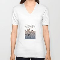 narwhal V-neck T-shirts featuring Narwhal by Judit Canela