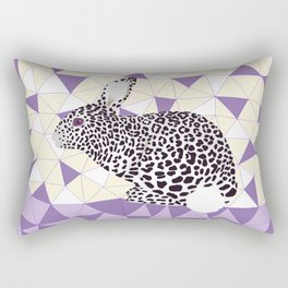 Cute Purple Pastel Rabbit Leopard Pattern Design Rectangular Pillow