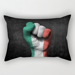 Italian Flag on a Raised Clenched Fist Rectangular Pillow