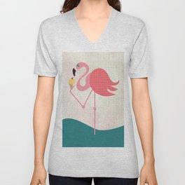 Flamingo has an ice cream Unisex V-Neck