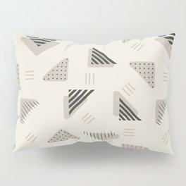 Geometrical black ivory brushstrokes stripes polka dots triangles Pillow Sham