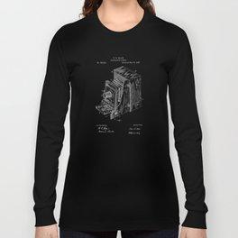 Vintage Camera Patent - White on Black Long Sleeve T-shirt