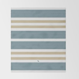 HERRINGBONE STRIPE VI - BLUE LAGOON Throw Blanket