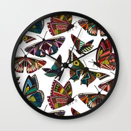 summer butterflies multi white Wall Clock