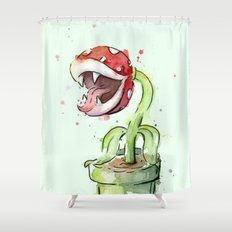 Piranha Plant Watercolor Geek Gaming Mario Art Shower Curtain