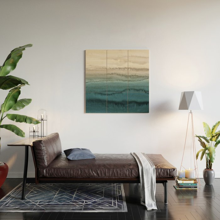 WITHIN THE TIDES - CRASHING WAVES TEAL Wood Wall Art