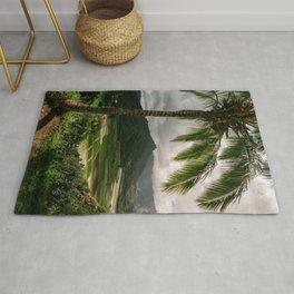 Hanalei Valley Lookout Kauai Hawaii | Tropical Island Nature Coastal Travel Photography Print Rug