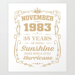 November 1983 Sunshine mixed Hurricane Art Print